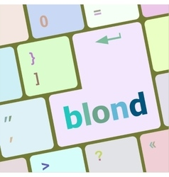 Blond word on keyboard key notebook computer vector