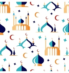 Arabian seamless pattern with moon and mosque vector