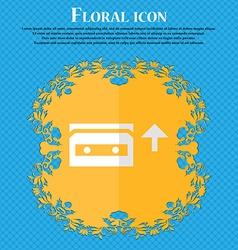 Audio cassette floral flat design on a blue vector