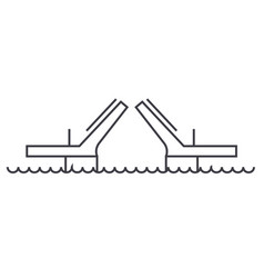 bridgesdrawbridges line icon sign vector image vector image