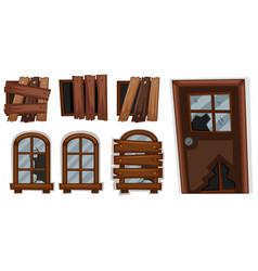 Broken windows and door vector