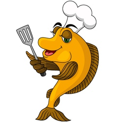 Cartoon cook fish vector image