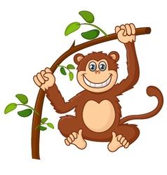 Cartoon happy smile monkey hanging vector image