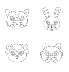 Cat rabbit fox sheep animal s muzzle set vector