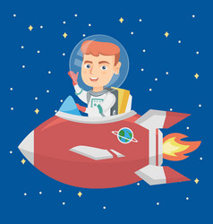 caucasian smiling boy riding a spaceship vector image