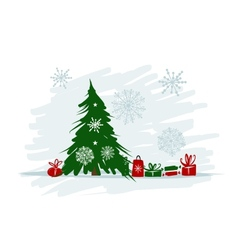 Christmas tree with gifts for your design vector image