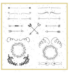 collection of hand drawn floral borders dividers vector image