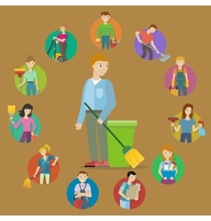 Collection of Member of the Cleaning Service Staff vector image vector image