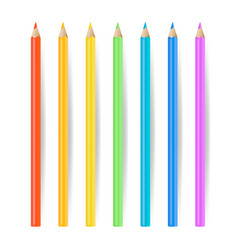 colored pencils set realistic school tools vector image