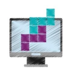 Computer and tetrix videogame control design vector
