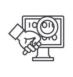 Computer diagnostics concept thin line icon vector
