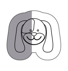 contour face dog icon vector image vector image