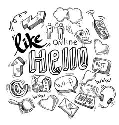 Doodle social media symbols vector image