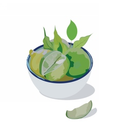 Fresh lime in a bowl vector image