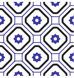 Geometric mediterranean blue and white rhombus vector