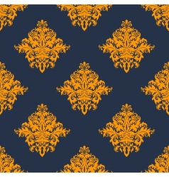 Gold and blue damask style seamless pattern vector