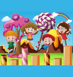 Happy children in fantacy land vector