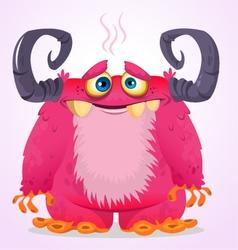 Happy halloween cartoon pink monster vector
