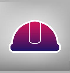 Hardhat sign purple gradient icon on vector