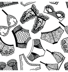 Lingerie panty and bra seamless pattern vector image vector image