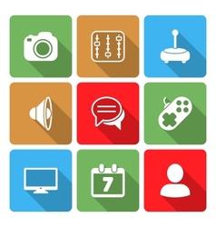 Media icons set with color sadow vol 2 vector