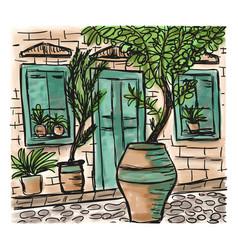 Mediterranean town painting vector