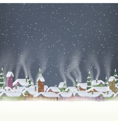 Merry Christmas retro postcard village EPS 10 vector image