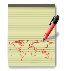 Pen drawing world map on legal pad paper red ink vector