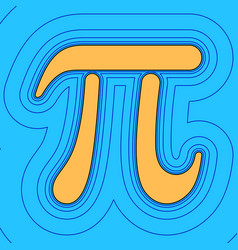 Pi greek letter sign sand color icon with vector