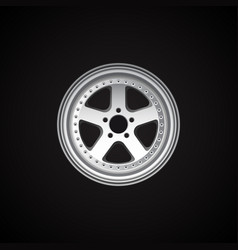 Realistic alloy wheel on black vector