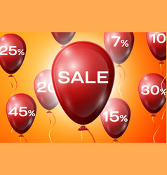 Red balloons with an inscription sale sale concept vector