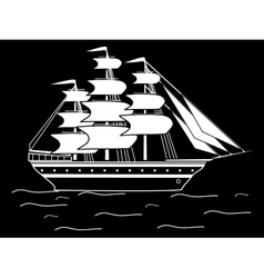 Sailing black white silhouette ship frigate retro vector