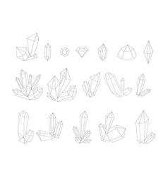 Set 17 fashion crystal monochrome diamonds in vector