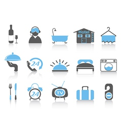 simple color hotel icons vector image vector image