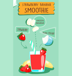 Strawberry smoothie recipe vector
