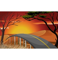 Sunset and road vector image vector image