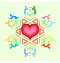 symbol of love and unity with heart star and vector image vector image
