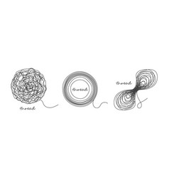 thread ball and ravel icon set isolated on white vector image
