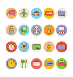 Travel Colored Icons 6 vector image vector image