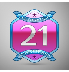 Twenty one years anniversary celebration silver vector