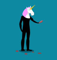 unicorn costume man mascot promoter male in suit vector image