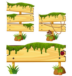 Wooden signs with moss and grass vector