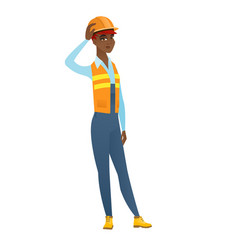 Young african-american builder scratching head vector