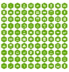 100 paying money icons hexagon green vector