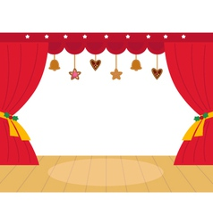 Colorful christmas theatre podium with decoration vector