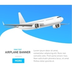 White jet airplane in the air banner vector