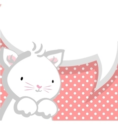 White cute little kitty baby comic bubble vector