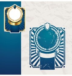 golden vintage blue frames vector image