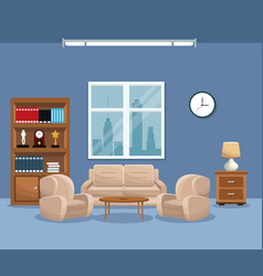 Living room sofa bookcase table lamp window clock vector