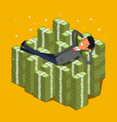 Businessman lying on a pile of money vector